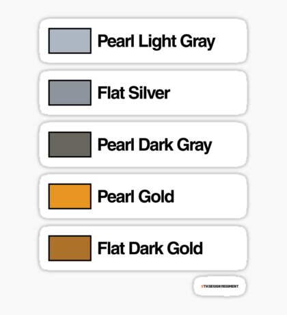 Brick Sorting Labels: Pearl Light Gray, Flat Silver, Pearl Dark Gray, Pearl Gold, Flat Dark Gold Sticker