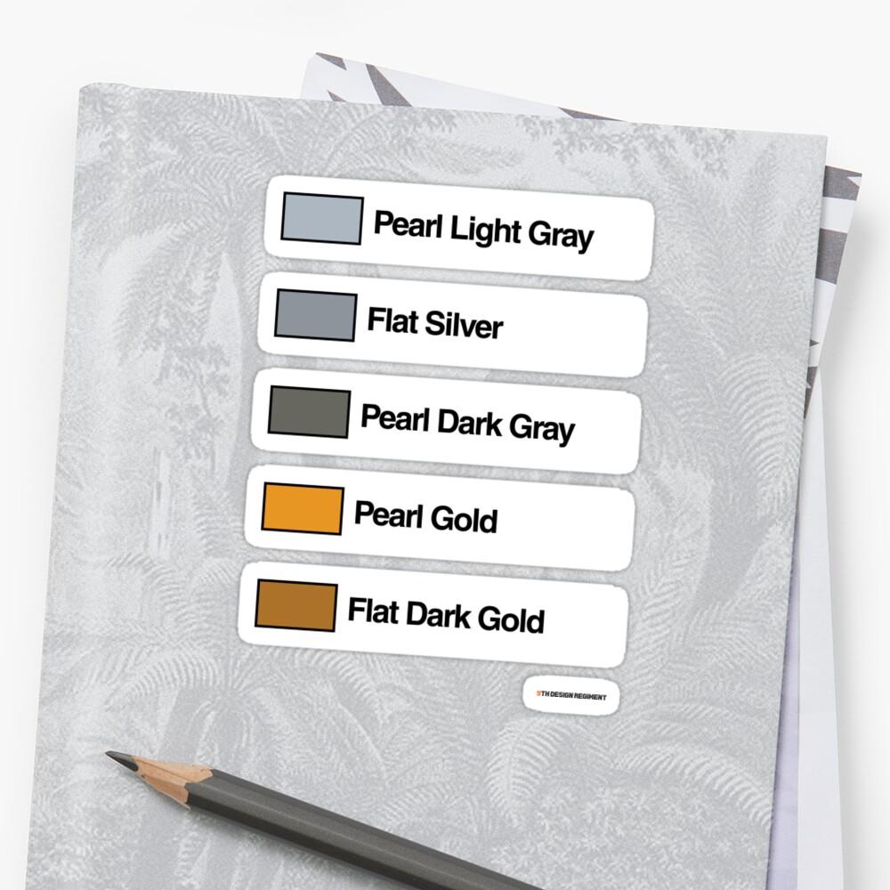 Brick Sorting Labels: Pearl Light Gray, Flat Silver, Pearl Dark Gray, Pearl Gold, Flat Dark Gold by 9thDesignRgmt