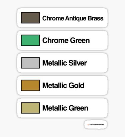 Brick Sorting Labels: Chrome Antique Brass, Chrome Green, Metallic Silver, Metallic Gold, Metallic Green Sticker