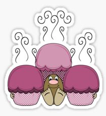 Cute Monster With Pink Frosted Cupcakes Sticker