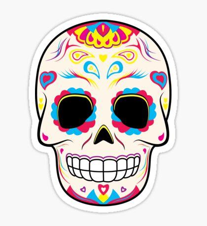 Sugar Skull Pink and Yellow ~ Sticker Sticker