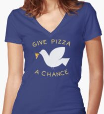 War & Pizza Women's Fitted V-Neck T-Shirt