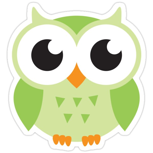 Quot Cute Green Owl Stickers Quot Stickers By Mheadesign Redbubble