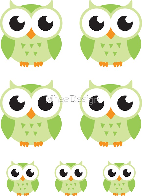Cute green cartoon owls sticker collection stickers by cute green cartoon owls sticker collection by mheadesign voltagebd Images