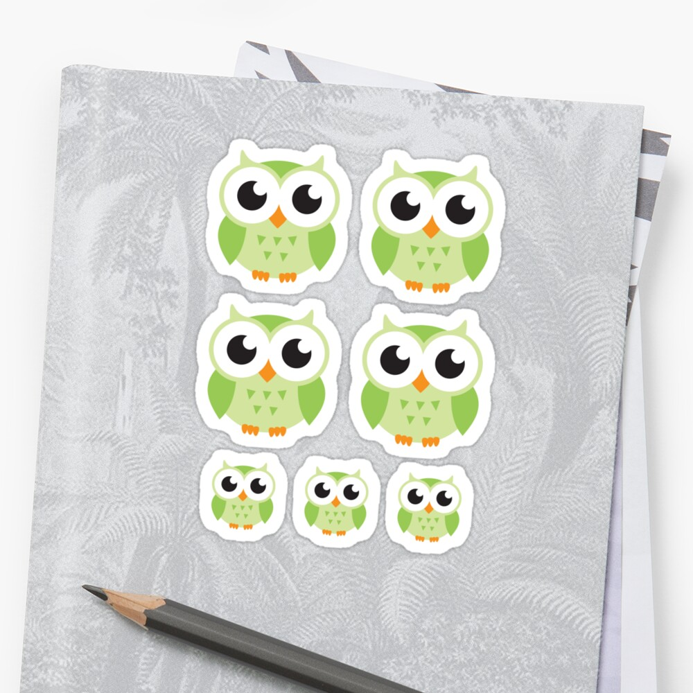 Cute green cartoon owls, sticker collection by MheaDesign
