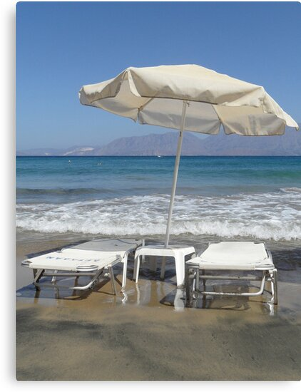 Sunloungers and Parasol, Crete by KUJO-Photo