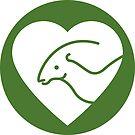 Dinosaur heart: Parasaurolophus sticker by David Orr