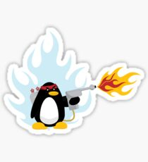 Flamethrower Penguin Sticker