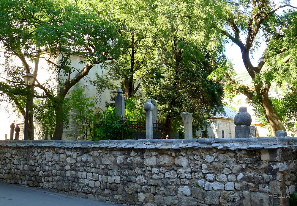 Mosque and Graveyard in Mostar by HELUA