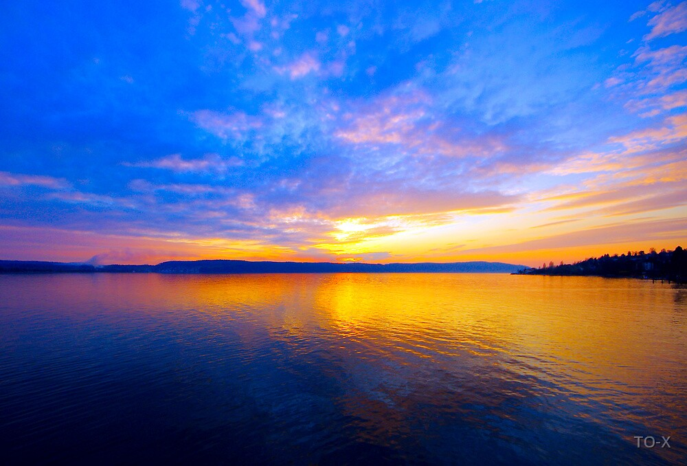 Sunset over the Lake by TO-X
