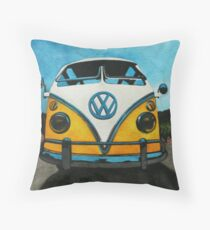 Wee Yellow Camper Throw Pillow