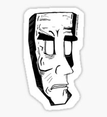 Rigid frowning face Sticker