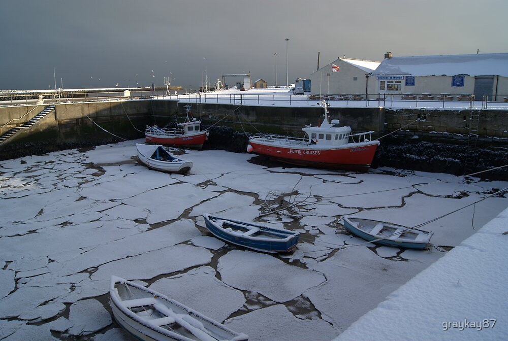 Frozen Amble Harbour by graykay87