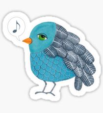 Slightly Depressed Blue Bird Singin' the Blues Sticker