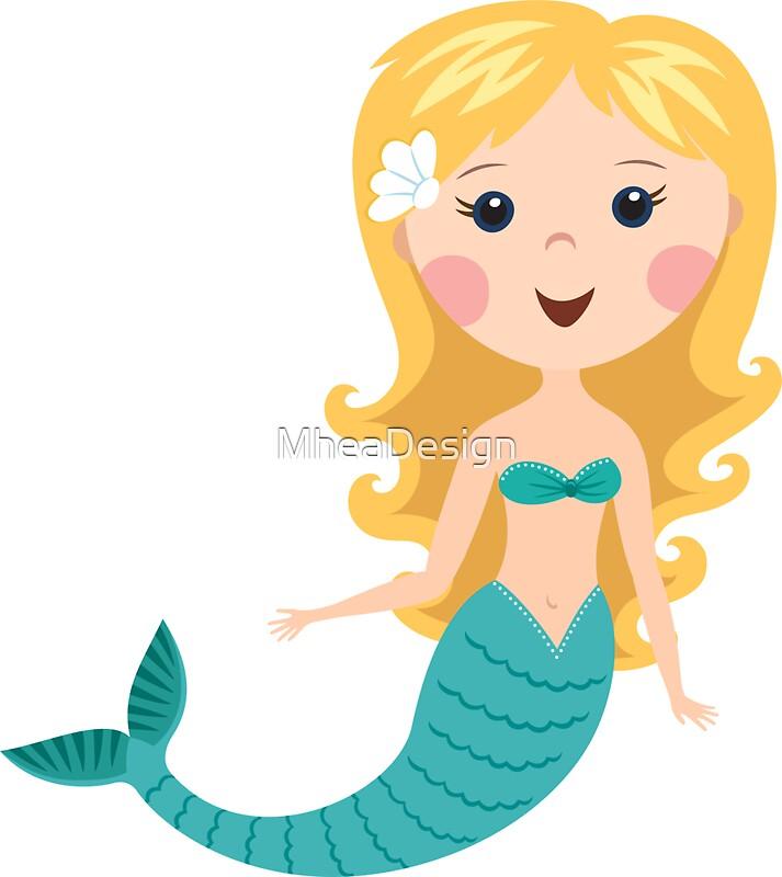 cute blond cartoon mermaid stickers by mheadesign