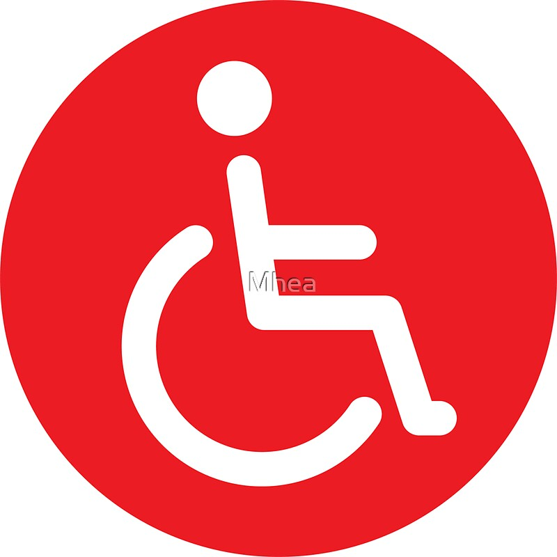 Red disabled symbol, round stickers by Mhea