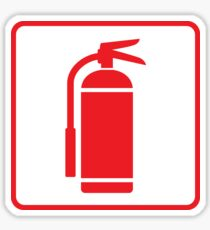 Fire extinguisher symbol, red on white with red border Sticker
