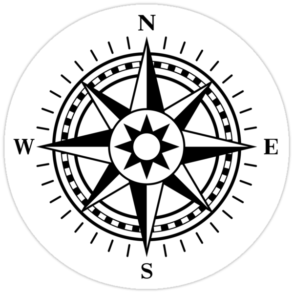 Quot Compass Rose Black And White Quot Stickers By Mhea Redbubble
