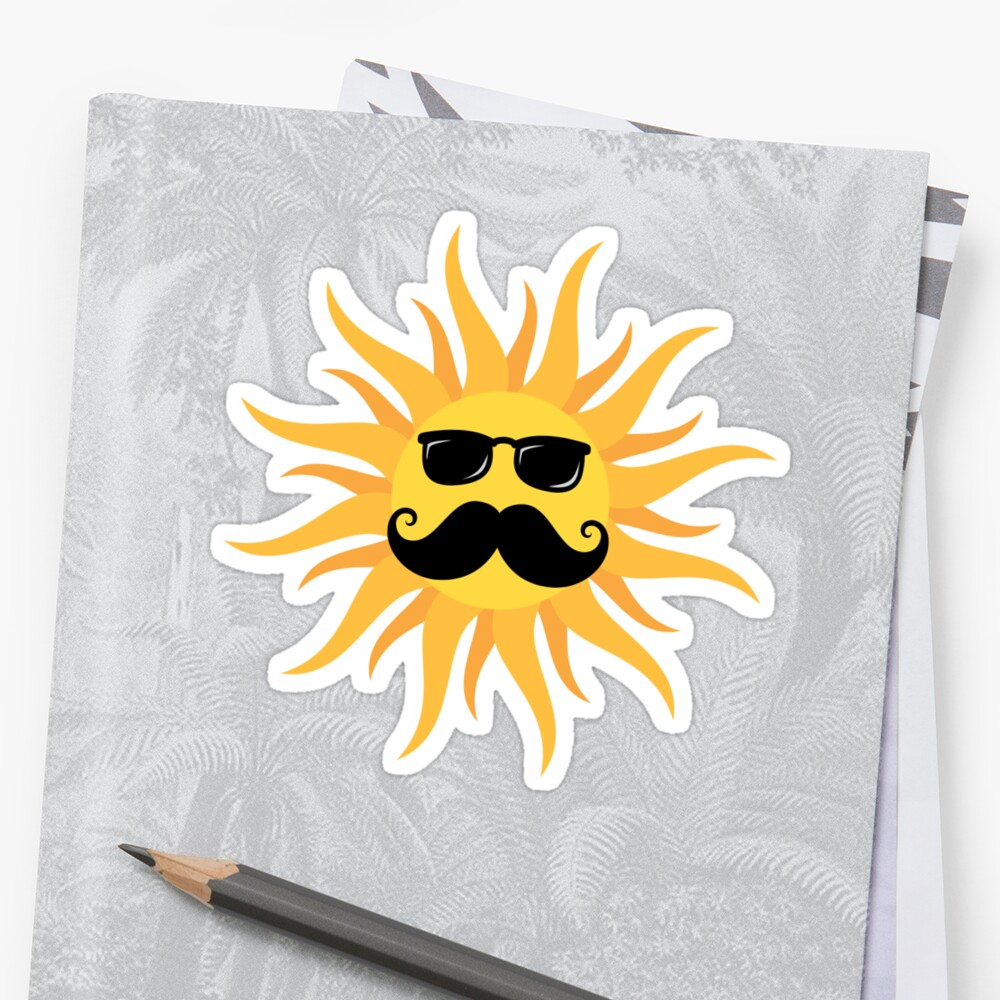 Funny sun with mustache and sunshades\