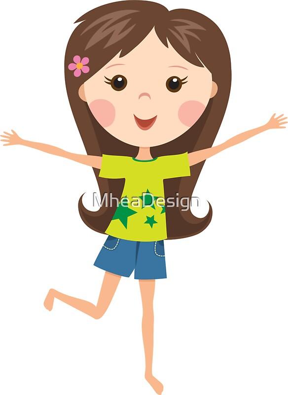 Cute cartoon girl happy vector Vector | Free Download