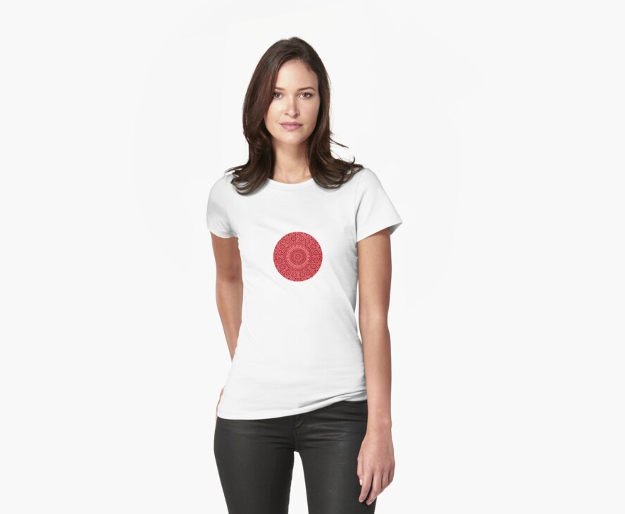small red chakra mosaic circle girly by offpeaktraveler