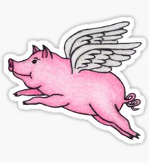 Flying Pig Drawing Stickers  27cea096c8f5d