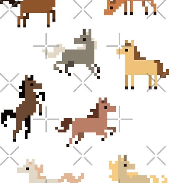 8 Mini Pixel Horse Stickers by pixelatedcowboy