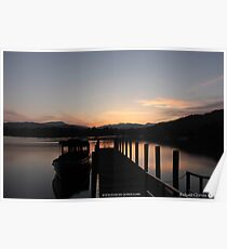 Lake Windermere sunset boats Poster