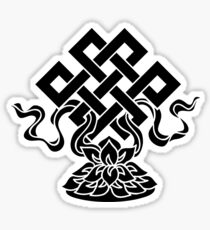 Eternal Knot, Lotus Flower, Buddhism, Lucky Charm Sticker