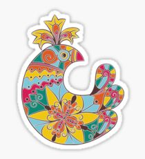 Easter folk decorated bright chick Sticker