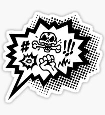 COMIC Curses, Skull, Speech Bubble, Comic Book Explosion, Cartoon Sticker
