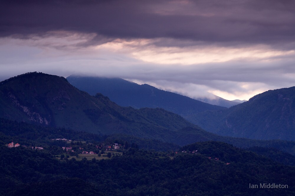 Alpine village at sunrise by Ian Middleton