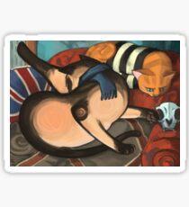 Expressionistic Catlock Sticker