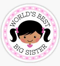 World's best big sister round sticker, cartoon girl with dark skin and black hair Sticker