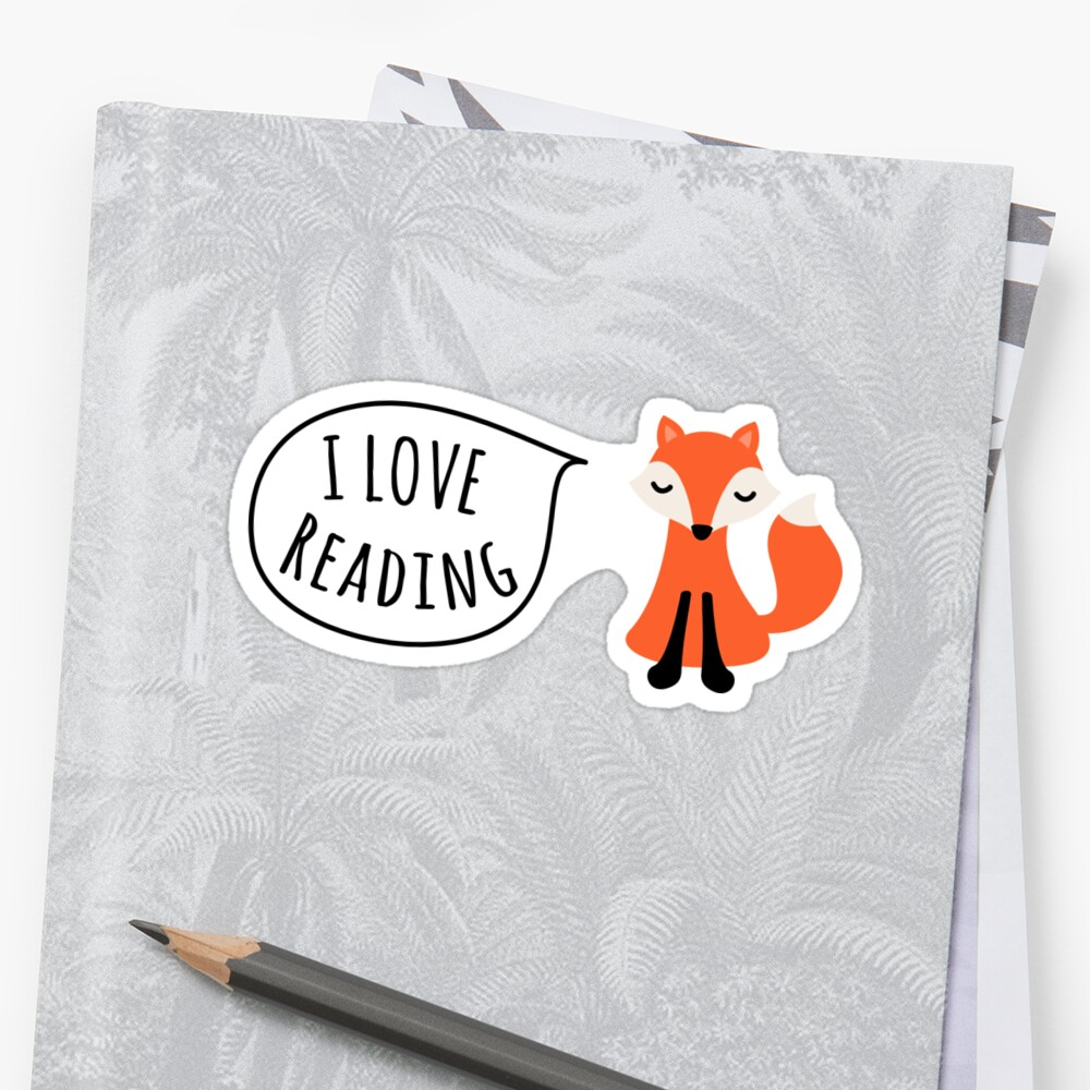 Quot I Love Reading Sticker With Cute Cartoon Fox Quot Sticker By