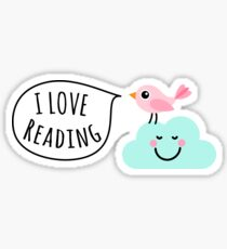 I love reading sticker with cute, pink bird standing on a happy cloud Sticker