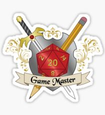 Game Master Red d20 Crest Sticker Sticker