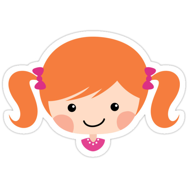 12027832 Cute Cartoon Girl With Red Hair Tied In Pigtails Sticker on Spiral Border Clip Art