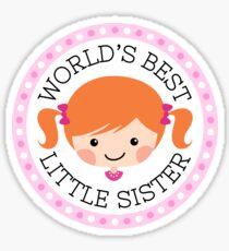 World's best big sister sticker, cartoon girl with red hair Sticker