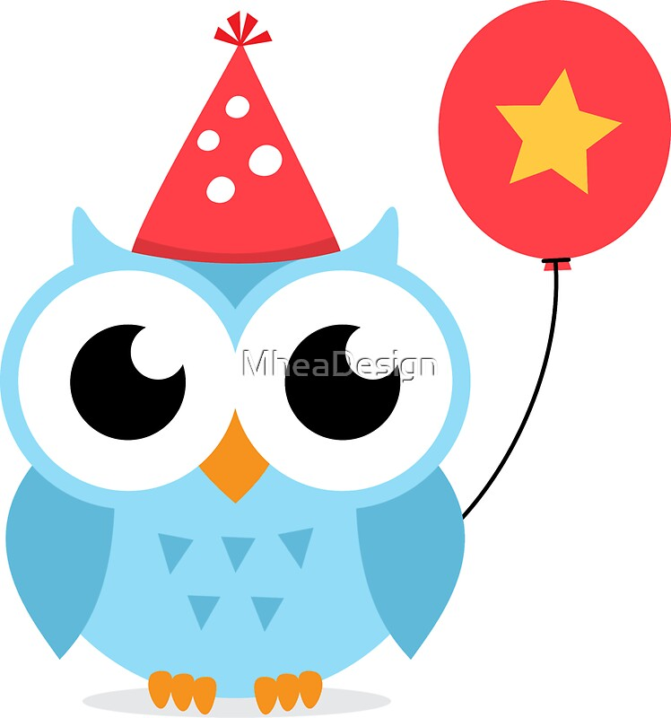 """""""Cute, blue party owl with balloon sticker"""" Stickers by ..."""
