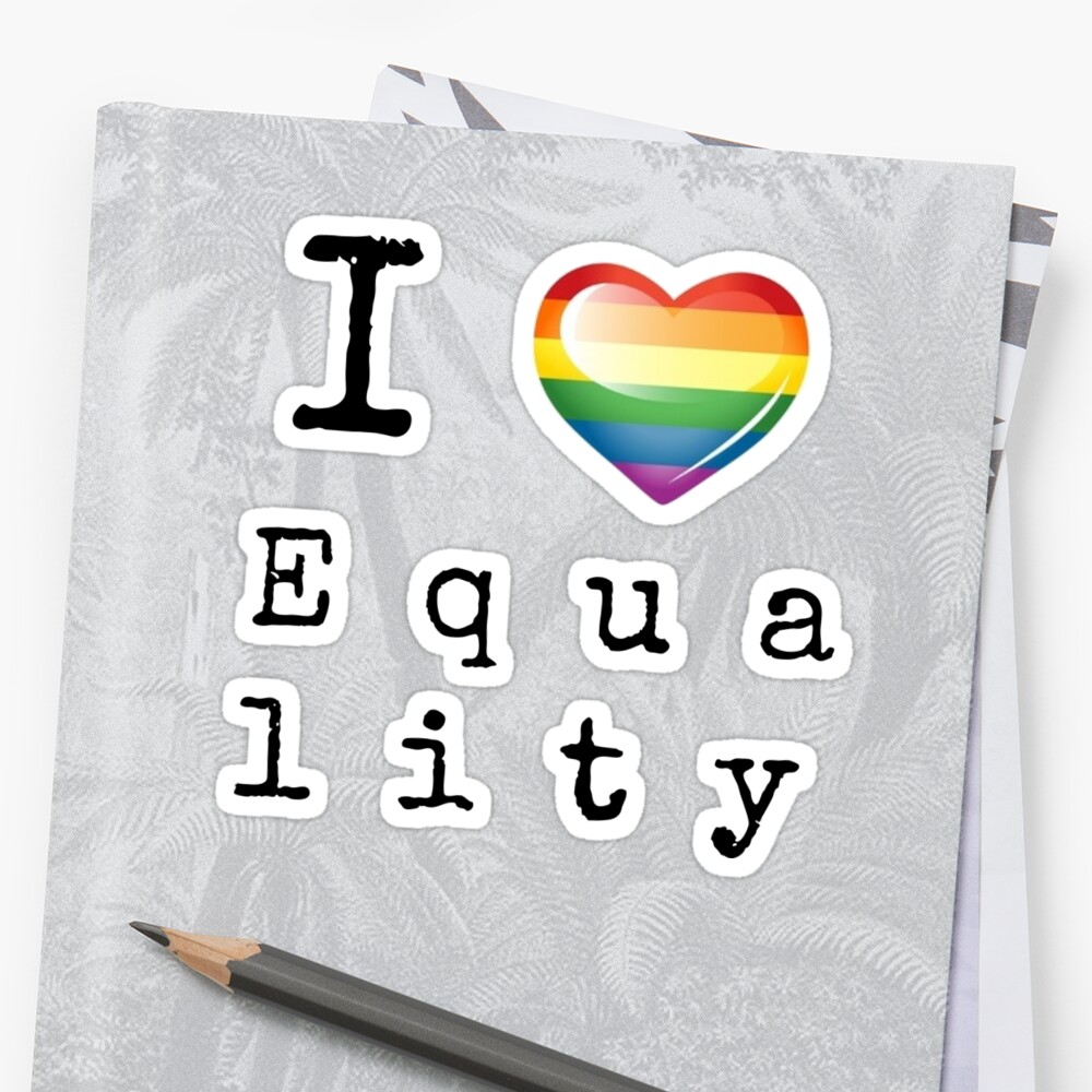 I Heart Equality - Free Form Sticker by Rai Ball (The Elocutioner)