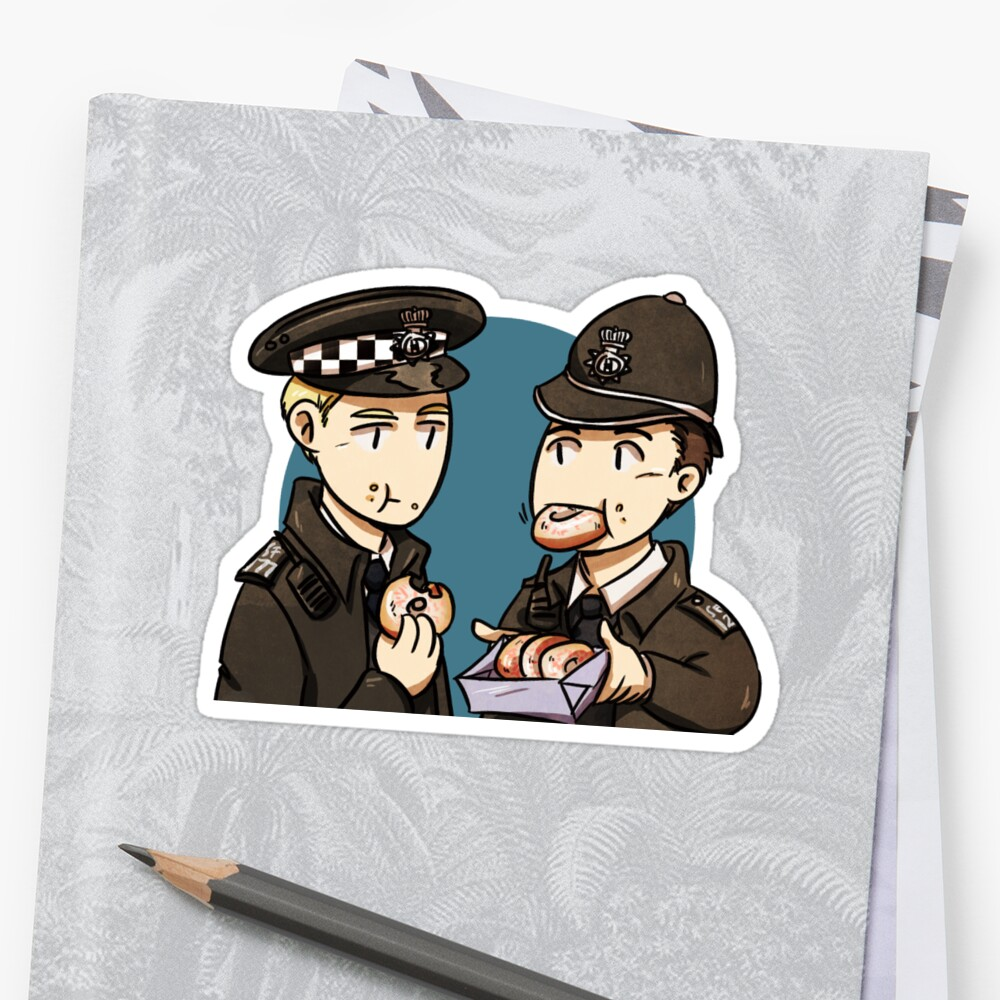 Hot Fuzz and donuts Sticker