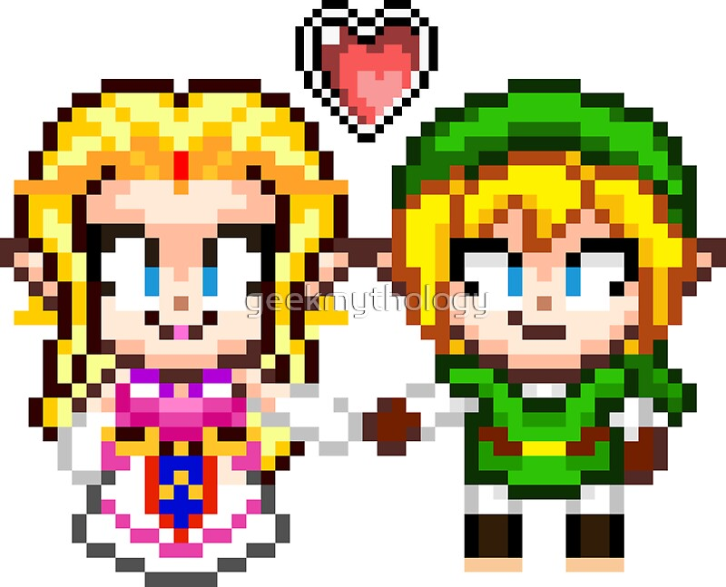 link and zelda in love pixel art stickers by geekmythology redbubble. Black Bedroom Furniture Sets. Home Design Ideas
