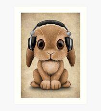 Cute Baby Bunny Dj Wearing Headphones Art Print