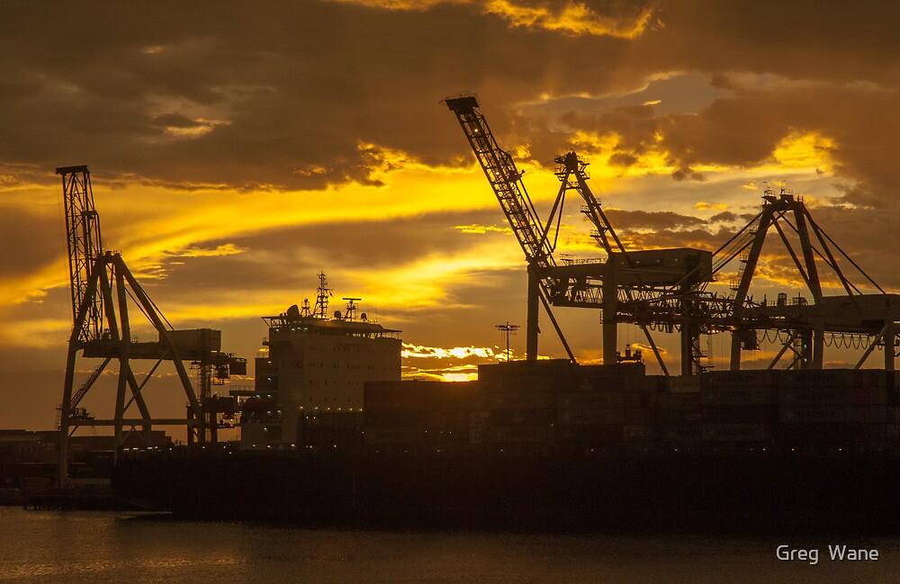 Fremantle Docks at sunset by Greg  Wane