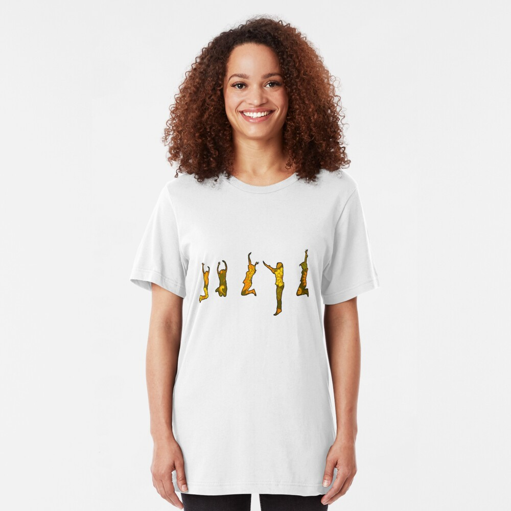 Jumping Floral Silhouettes Slim Fit T-Shirt