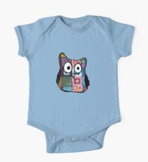 Patchwork Owl Short Sleeve Baby One-Piece