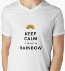 Keep Calm Rainbow on white Men's V-Neck T-Shirt