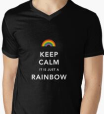 Keep Calm Is Just a Rainbow Mens V-Neck T-Shirt
