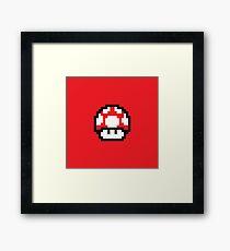 8 Bit Mushroom (Red) Framed Print